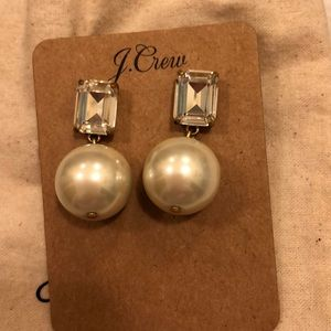 J Crew Gem Pearl Earrings